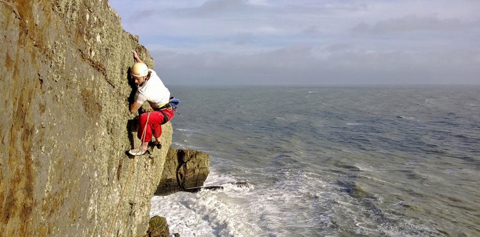 Benno topping out on the 3rd ascent of Melody, E8 6b, Lleyn Peninsula, 130 kb