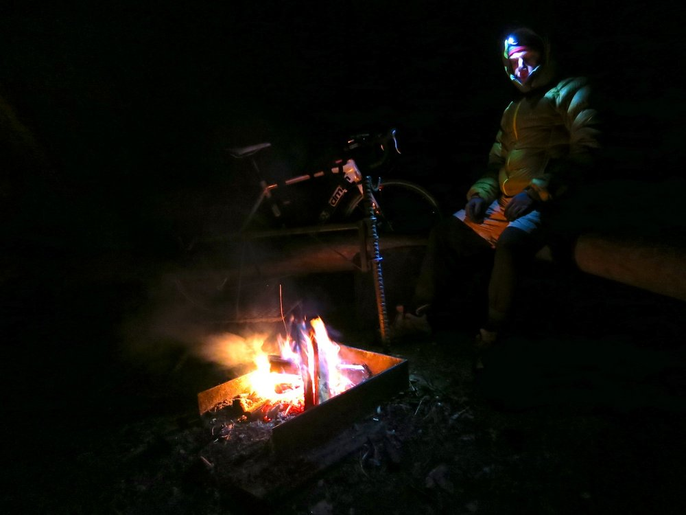 A cold night camping after a long day of early winter bikepacking, 60 kb