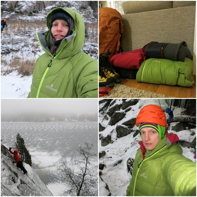 The Fjörm in action - hood on, belay jacket, in the house..., 148 kb
