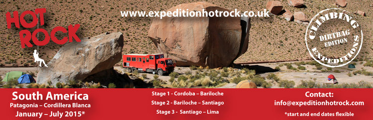 Hot Rock Expedition South America 2015, Courses, holidays, expeditions, accommodation Premier Post, 2 weeks @ GBP 35pw, 106 kb