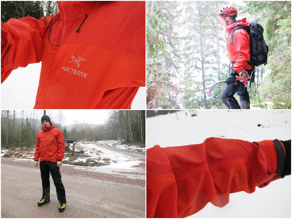 Hood shoulders and upper arms, waterproof Gore. Torso and lower arms, breathable softshell, 152 kb