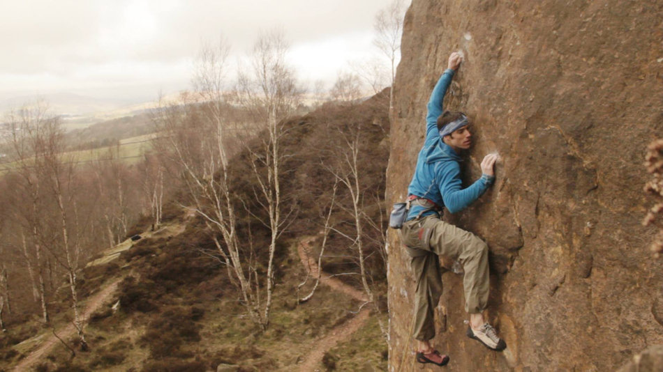 Tom Randall on the crux of Pure Now, E9 6c, Millstone Edge, 125 kb