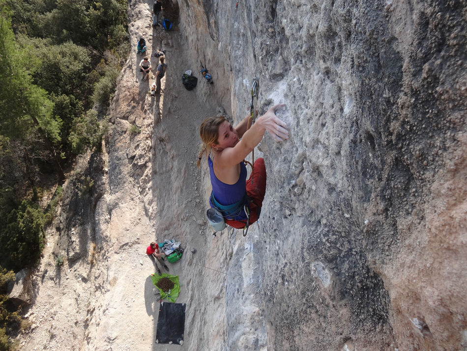 Sustained climbing on crimps and pockets on China Crisis, 8b+, Catalunya, 215 kb