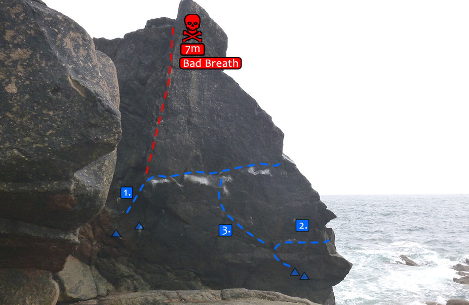 Topo showing the line of Wonderland, 8A, Priest's Cove, which is line no. 3, 107 kb