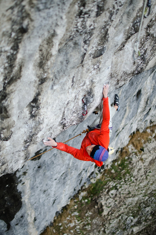 Alex Megos climbing Unjustified, 8c, at Malham, 150 kb