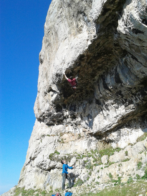 Pete Robins on the FA of Triton, 8b, Craig y Don Upper, 185 kb