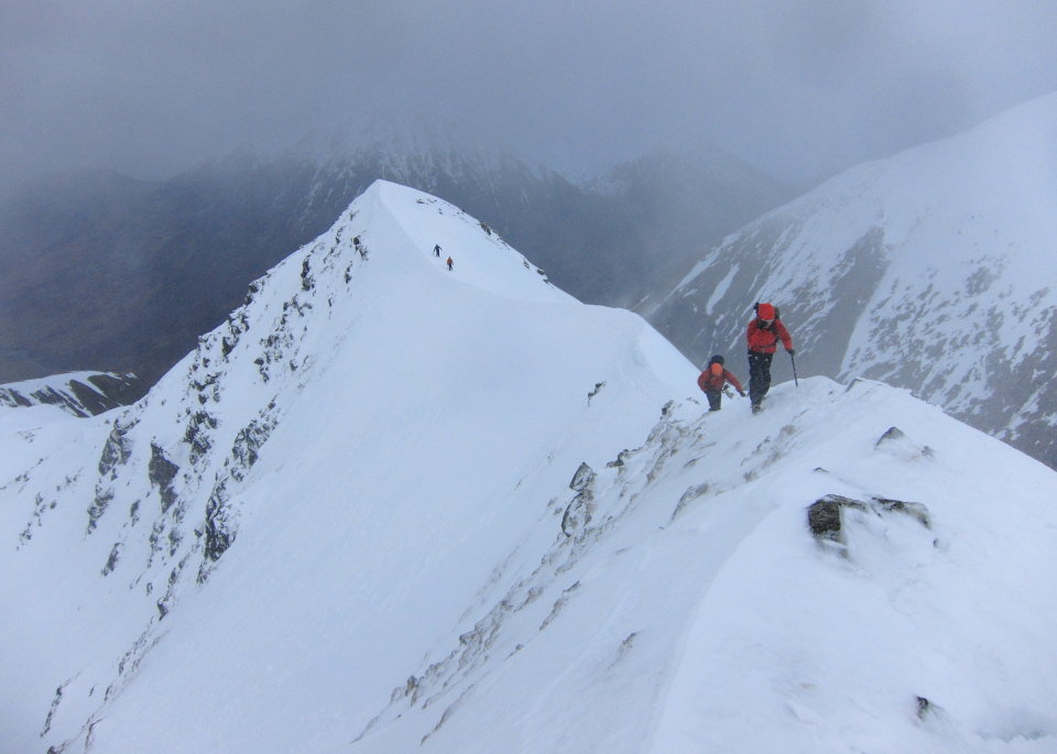 Blowy weather on the north ridge of Stob Ban, 75 kb