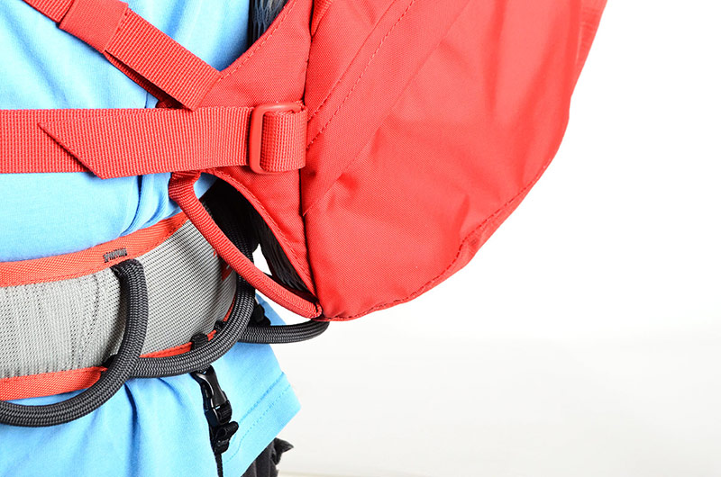 Low profile base allows easy access to harness racking and chalk bag, 115 kb