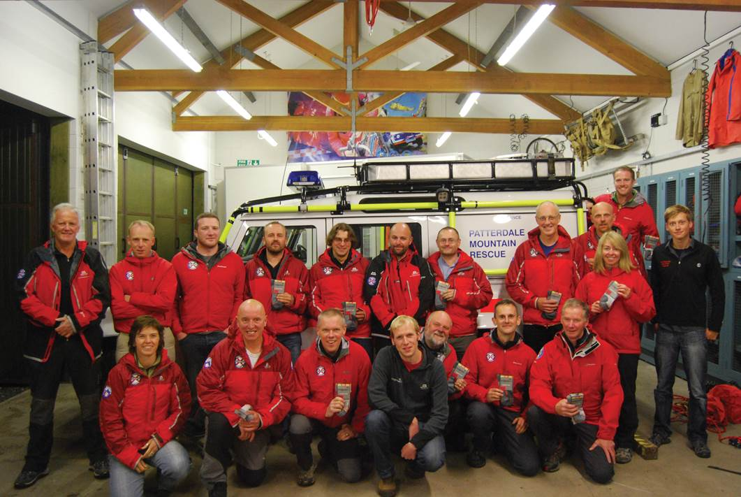 Bridgedale Product Manager Chris Gordon with Patterdale Mountain Rescue team, 107 kb