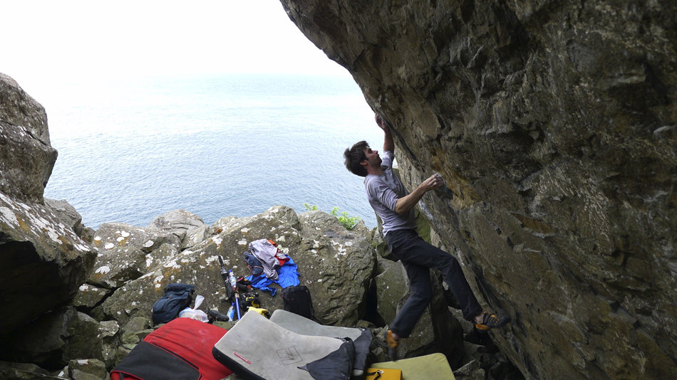 Dan on the first ascent of Game of Bones, 8A+, Fairhead, 140 kb