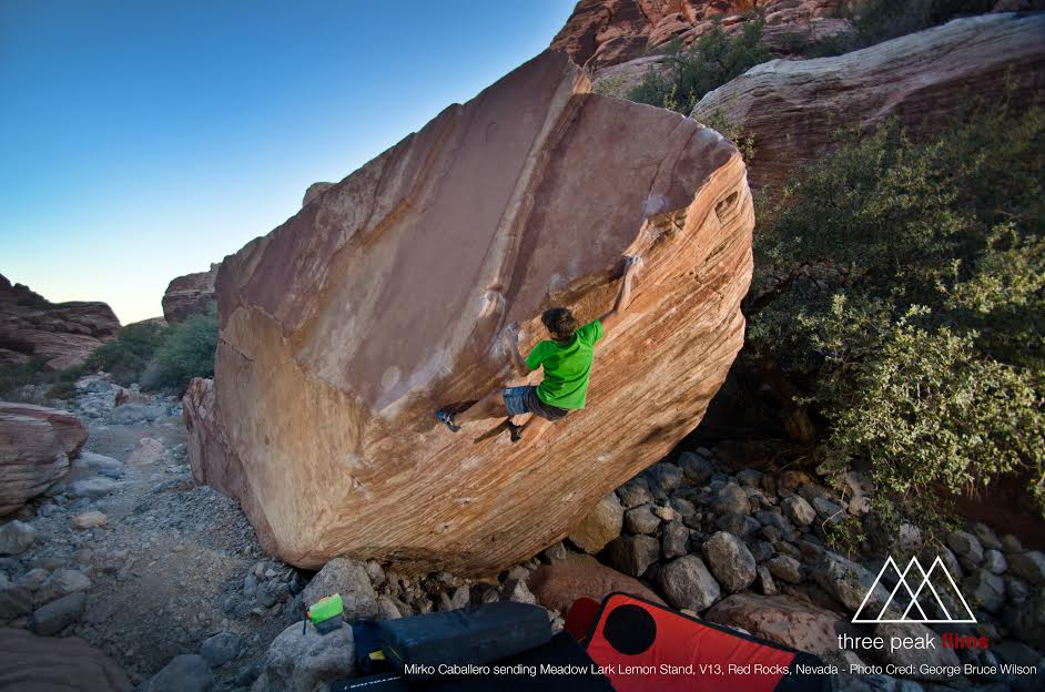 Mirko on Meadowlark Lemon, 8B+, Red Rocks, 90 kb