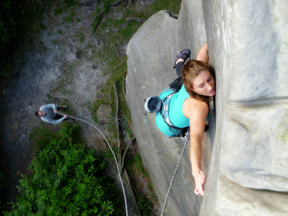 Emma climbing Advertisement Wall at High Rocks , 185 kb