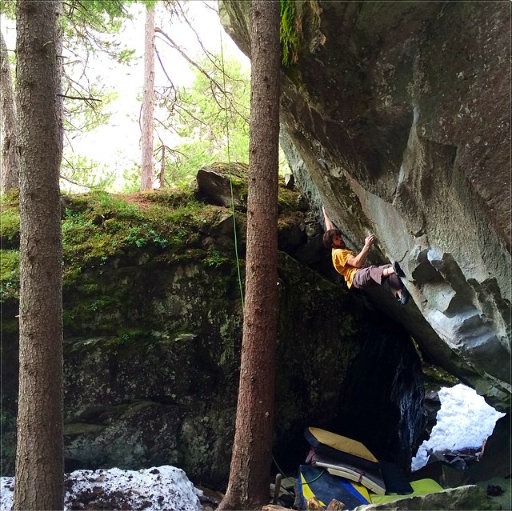 Jimmy Webb on The Understanding, ~8C, Magic Wood, Switzerland, 90 kb