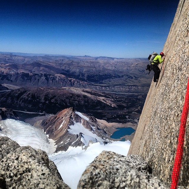 Tommy Caldwell up high on the North Pillar of Fitzroy during the 5 day traverse of the range., 140 kb