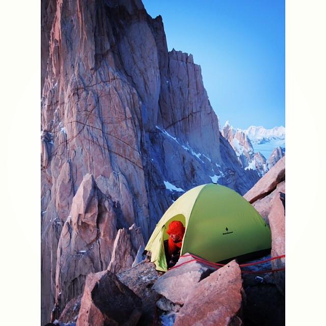 Day 1 of extreme camping on the Fitz Traverse. The intimidating North Pillar of Fitz Roy in the background, 89 kb