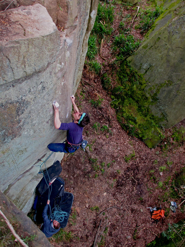 Eying Up The Crux Leap On The First Ascent Of 'Fly Agaric' (H8 7a), 230 kb
