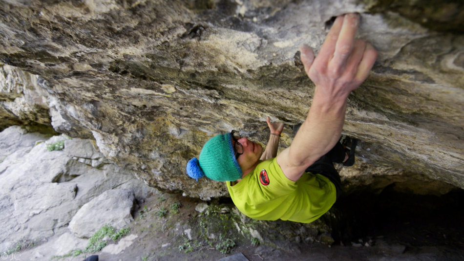 Ethan Walker attempting Belly of the Beast, 8B+, Raven Tor, 145 kb