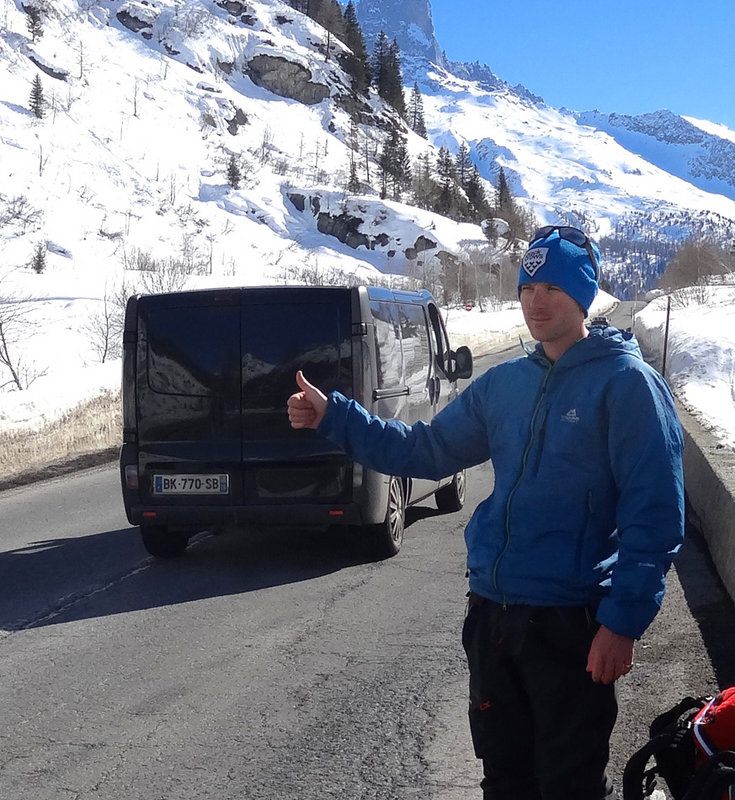 Hitching (unsuccesfully it would seem!) at the Col des Montets., 174 kb