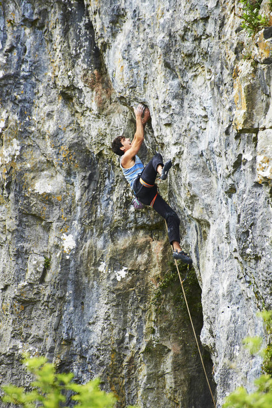 Tom Newberry climbing his first 8c, Death Star, Cheddar Gorge, 222 kb