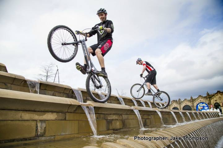 ShAFF 2014 - There was a great mix of outdoor users including these bikes on the fountains, 44 kb