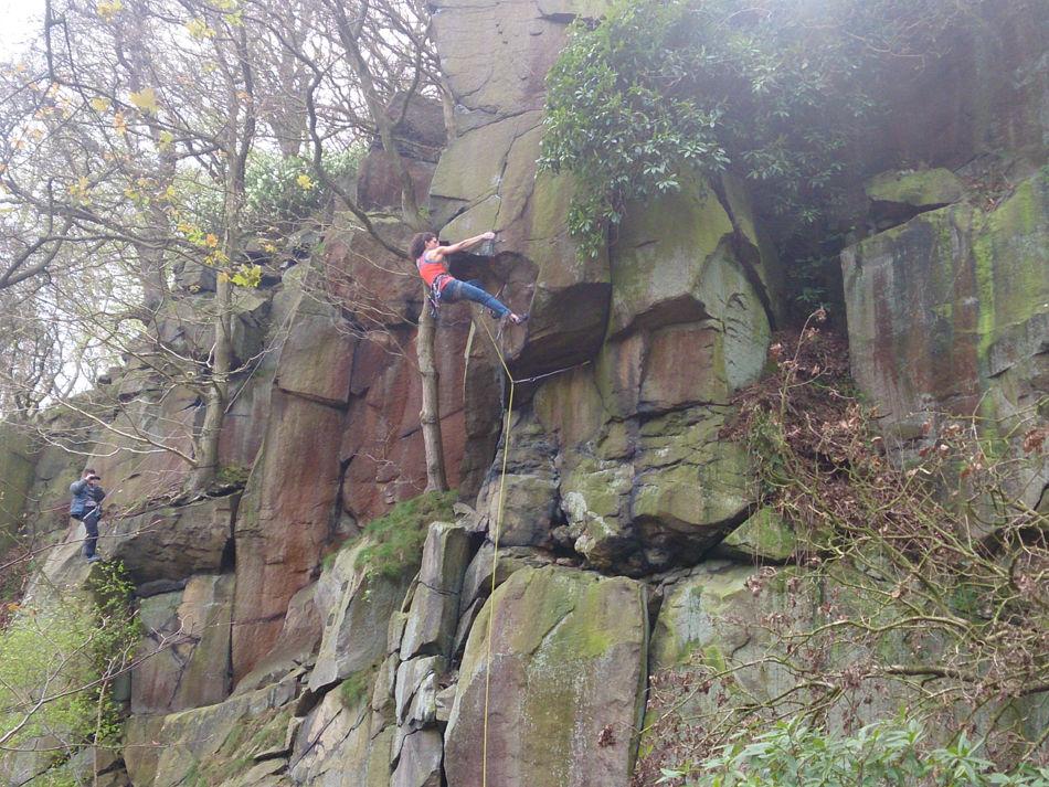 Naomi Buys climbing Birdsong, E7 6c, Hawkcliffe, 217 kb