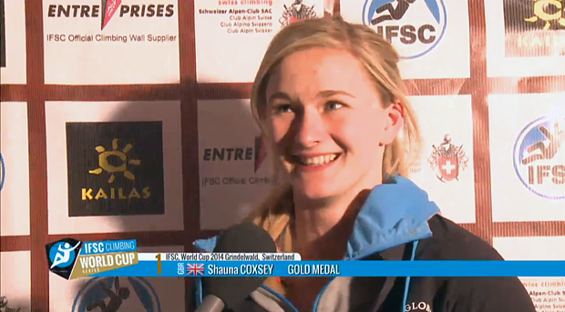 Shauna Coxsey after winning her first gold medal at Grindelwald, Switzerland 2014, 86 kb
