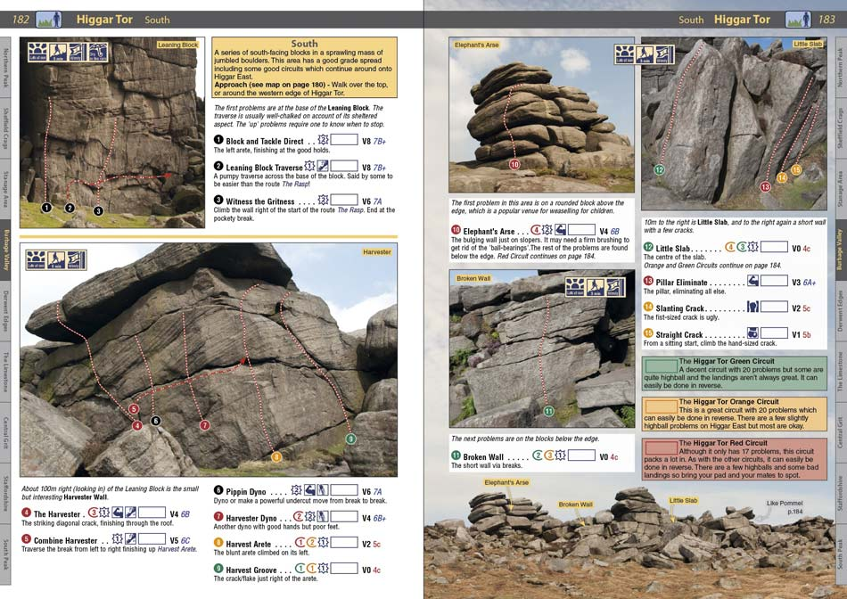 A spread from the new Peak Bouldering guide showing the circuits at Burbage South Valley crag., 135 kb