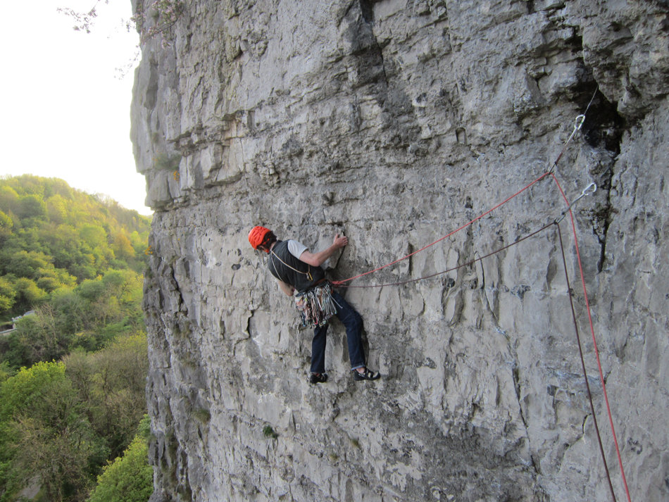 John Brannock using the Petzl Salsa half ropes at Stoney Middleton, 224 kb