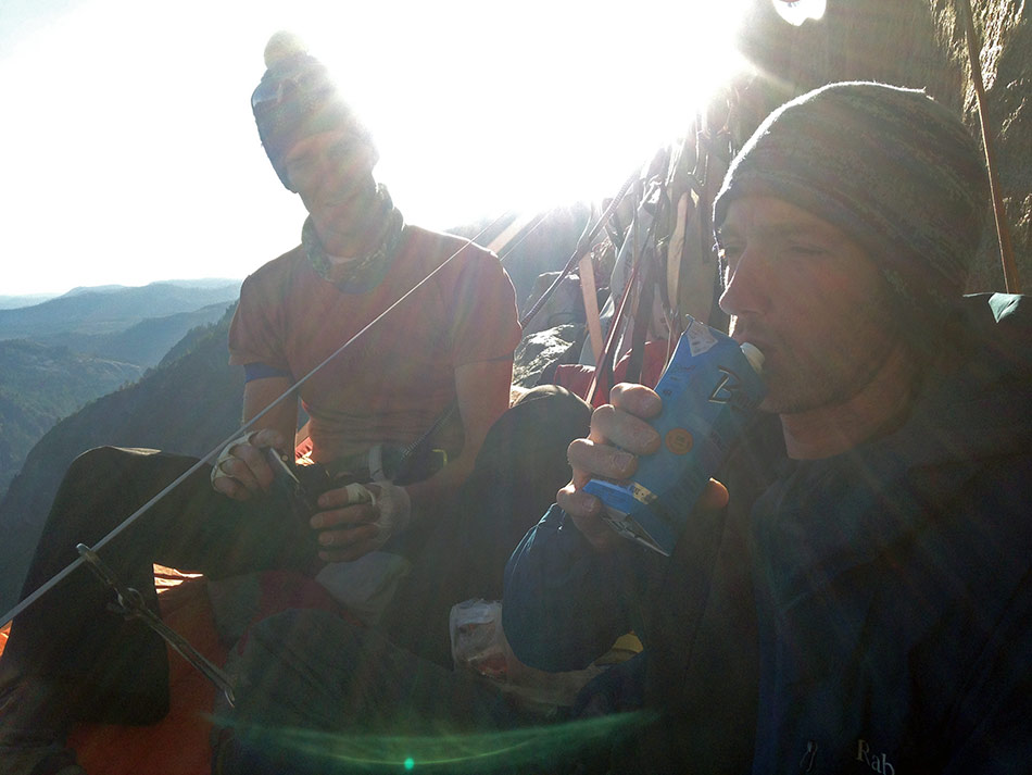 Dan Mcmanus and James McHaffie hanging out on Long Ledge on El Capitan, 95 kb