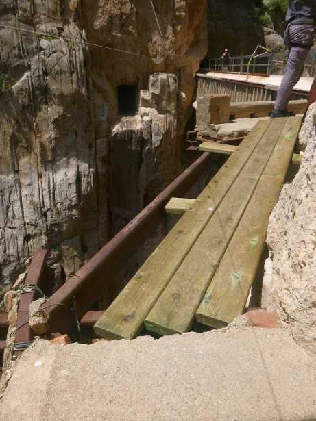 Restoration work taking place on the most famous section of the Camino Del Ray, 110 kb