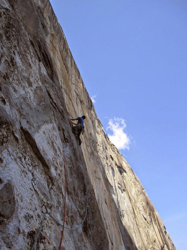 Caff climbing the third hard pitch on El Nino, Galapagos , 126 kb