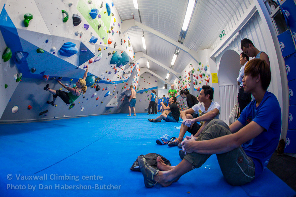 The Singaporean Team climbing the problems at VauxWall, 212 kb
