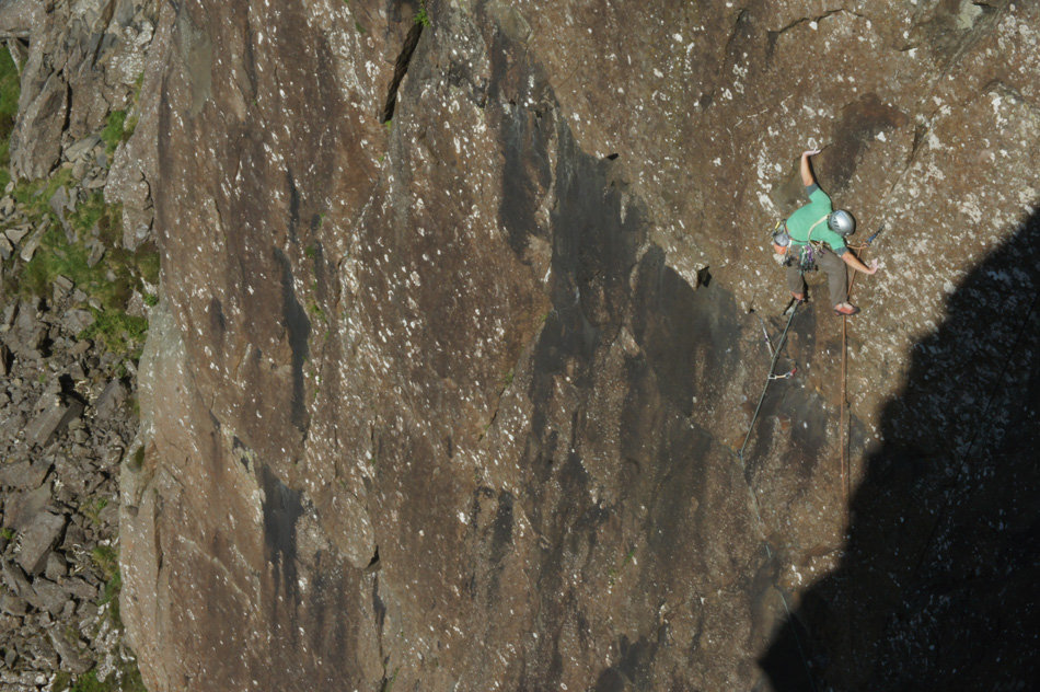 Paul Swail on the first ascent of Full of energy, Ready 2 Party, E5, 196 kb