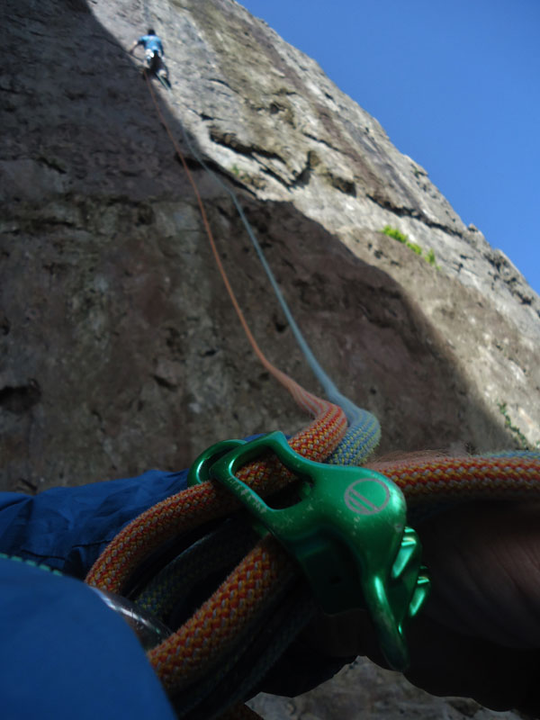 Belaying Right Wall - the classic E5 on Dinas Cromlech, 91 kb