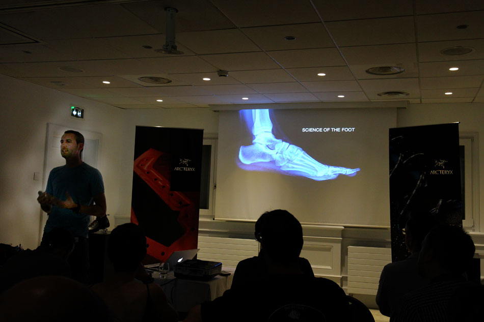 Federico Sbrissa of Arc'teryx shows how the new footwear line has been designed around the anatomy of the foot, 65 kb