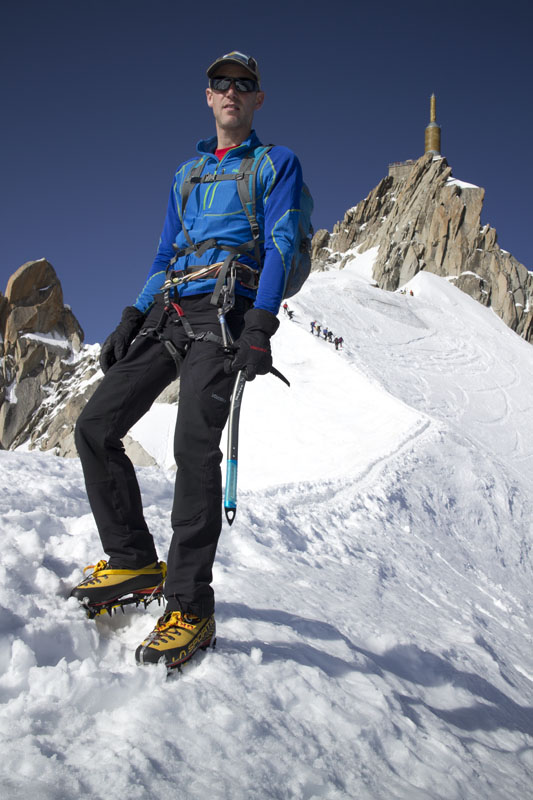 Jack Geldard testing the La Sportiva Nepal Cube GTX on the Aiguille du Midi, 105 kb
