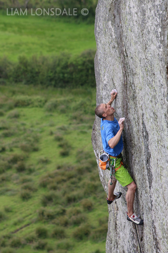 Steve McClure going for it on the top section of Strawberries, E7 6b, Tremadog, 135 kb