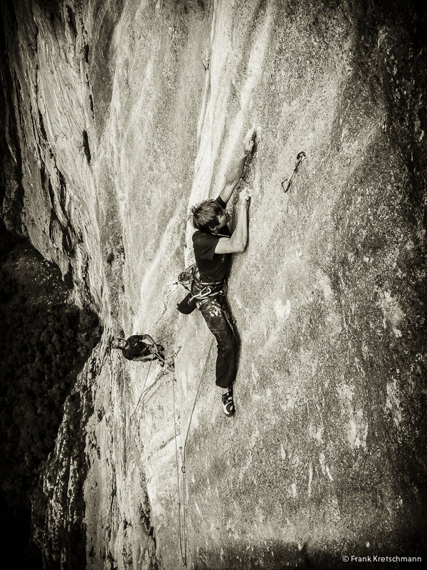Alex Megos climbing one of the hard technical pitches on Fly, 550m 8c, 216 kb