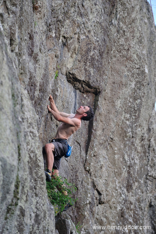 Caff on Harlot's Face E1 5b, Castle Rock, on his way to soloing 100 Lake District Extremes, 165 kb
