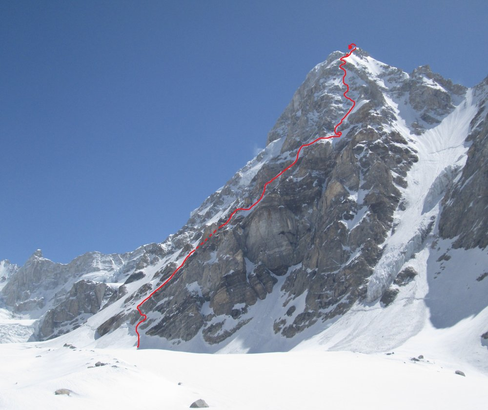 Foreshortened view of SW Buttress of Janahut. The summit is some way out of view beyond the forepeak, 119 kb