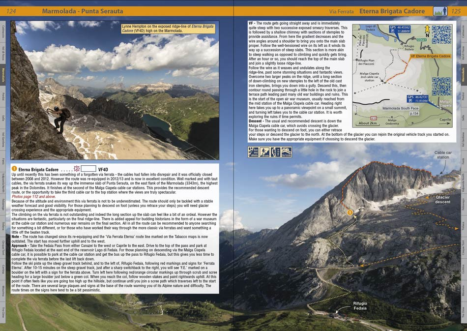 The Dolomites Rockfax example page, 151 kb