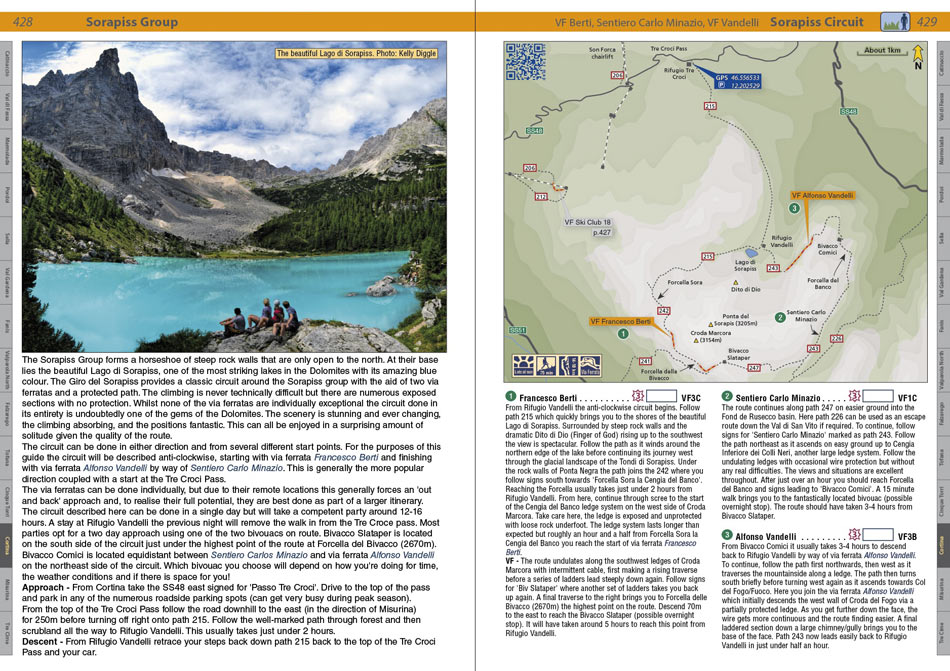 The Sorapiss Circuit from the Rockfax guidebook - Dolomites : Rock Climbs and Via Ferrata, 189 kb