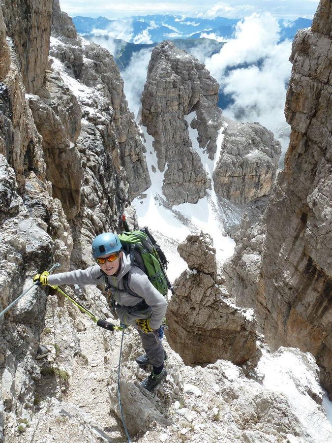 Isaac (aged 10) on Via Ferrata Spellini, Brenta Dolomites  , 197 kb