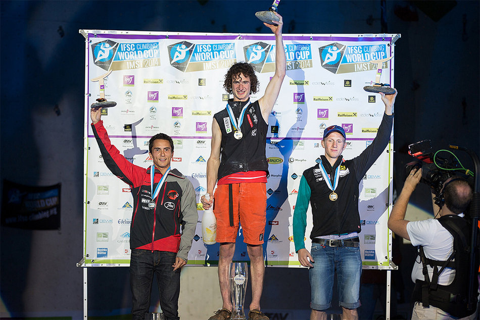 Adam Ondra on the podium at the IFSC Imst Lead World Cup, 2014, 189 kb