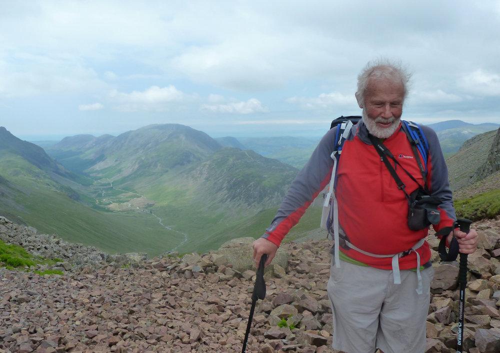 Chris Bonington walking in the Lake District, 153 kb