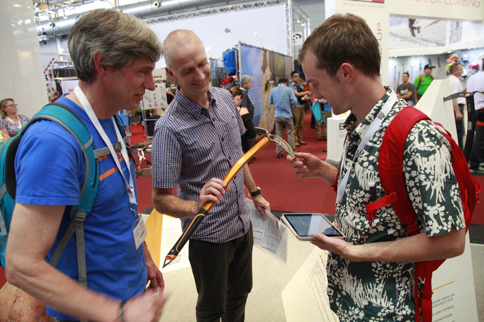 Alan James, Clive Allen and Duncan Campbell admiring the new Petzl Summit Evo, 139 kb