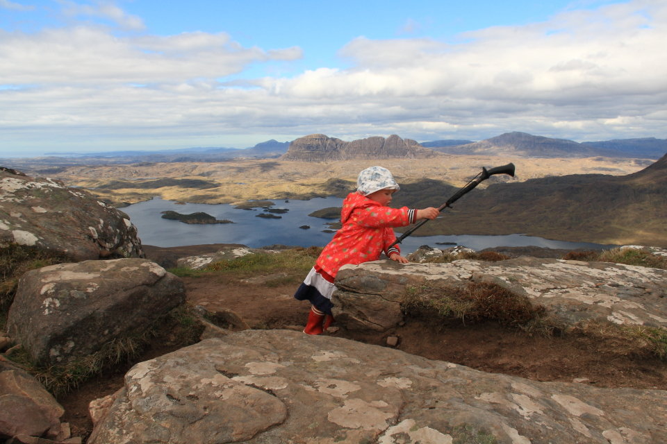 We said Stac Pollaidh was a dragon, and she could bash him on the head if she made it to the top, 127 kb
