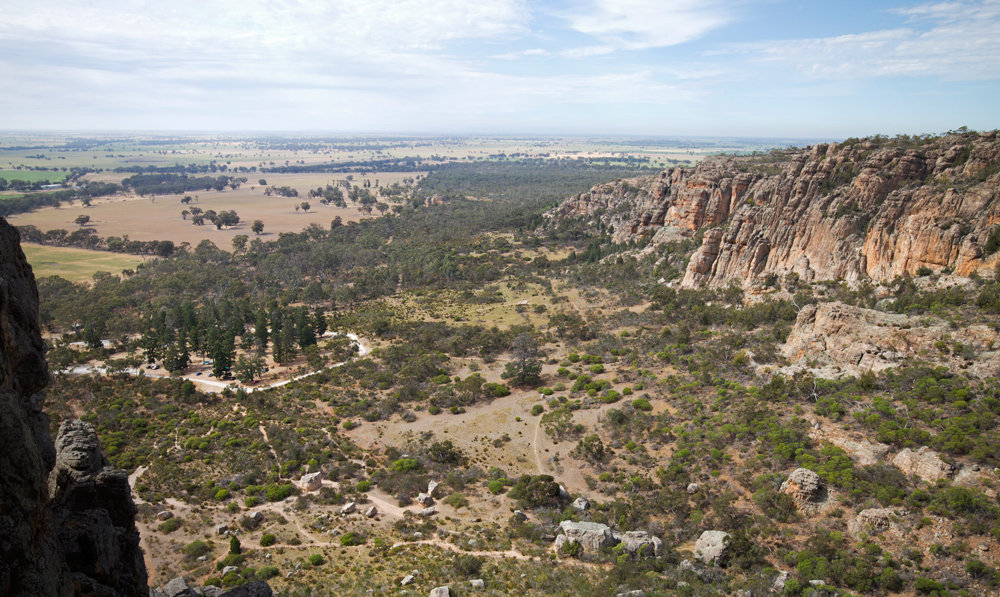 The Pines Campground at Mount Arapiles, with the Organ Pipes not an inconveniently long distance away, 206 kb