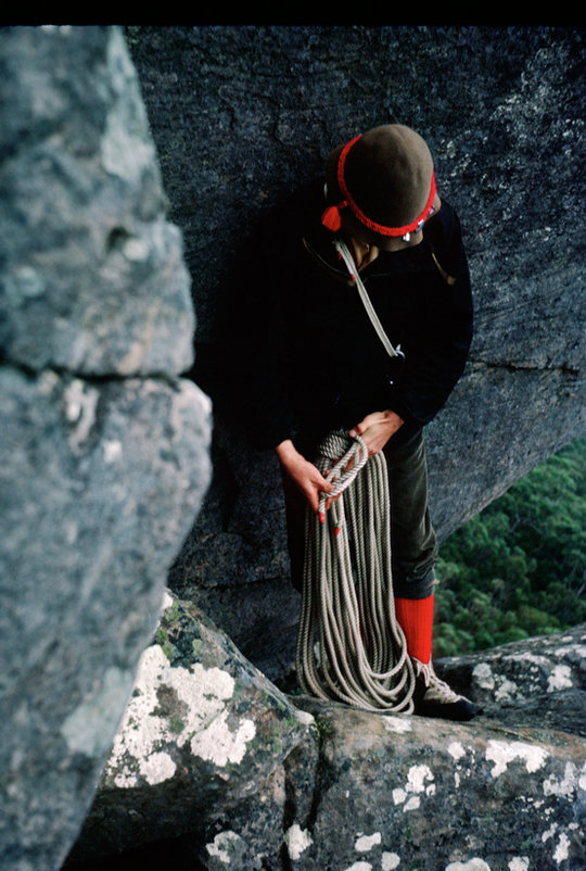 Greg, as always immaculately dressed: Grenfell anorak, one sling and krab, laid rope, PA's, on the top of Rosea, 116 kb