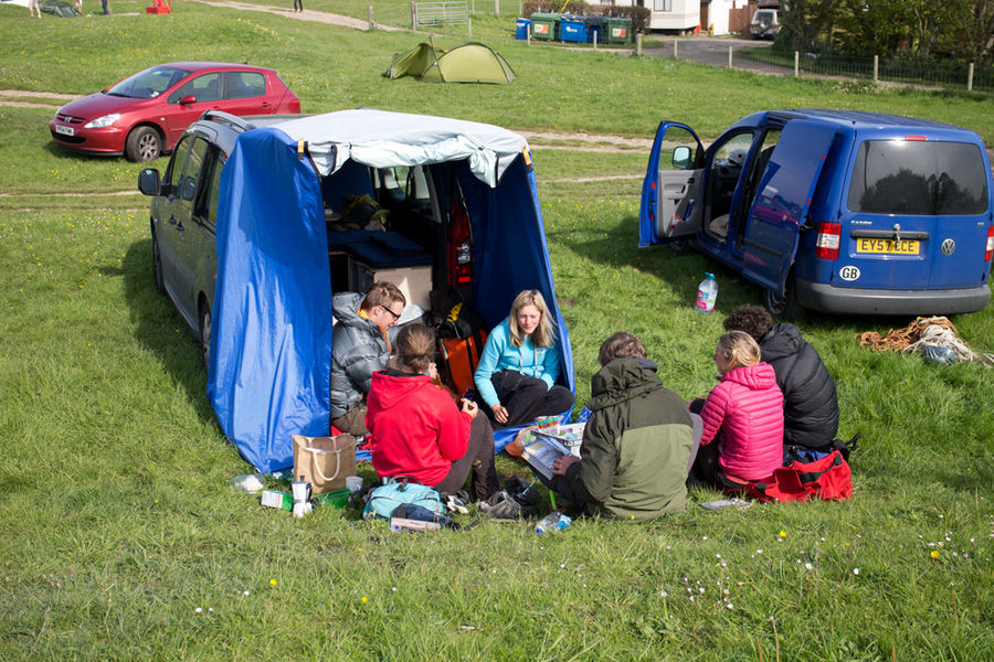 The Boot Jump forming the social hub at the Acton Field Campground near Swanage, 180 kb